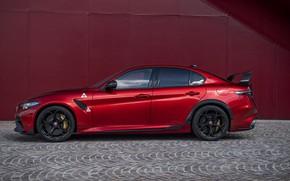 Картинка стена, Alfa Romeo, в профиль, Giulia, GTAm, 2020, Gran Turismo Alleggerita modificata