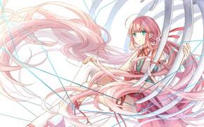 Картинка девушка, кости, длинные волосы, розовые волосы, рёбра
