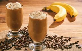 Картинка еда, стаканы, банан, десерт, кофейные зёрна, взбитые сливки