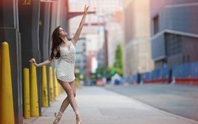 Картинка девушка, улица, танец, боке, Mariele
