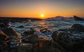 Картинка море, волны, небо, солнце, лучи, свет, закат, камни, скалы, берег, побережье, вечер, горизонт, прибой, сумерки, …