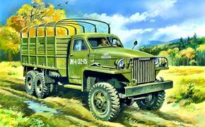Картинка США, трёхосный грузовой автомобиль, Studebaker US6, Studebaker Corporation, Бортовой