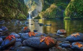 Картинка озеро, камни, водопад, кленовые листья