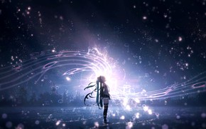 Картинка небо, ночь, музыка, вокалоид, Хатсуне Мику