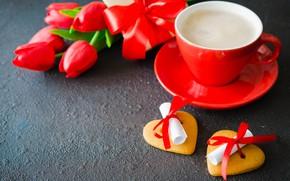 Картинка любовь, цветы, подарок, букет, сердечки, тюльпаны, красные, red, love, flowers, romantic, hearts, tulips, coffee cup, …