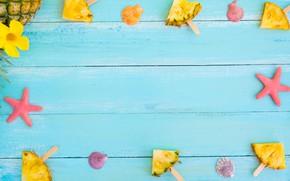 Картинка фон, морская звезда, ананас, дольки