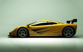 Картинка McLaren, Желтый, Машина, Car, Render, Суперкар, Рендеринг, Спорткар, Вид сбоку, Желтый цвет, McLaren F1 LM, …