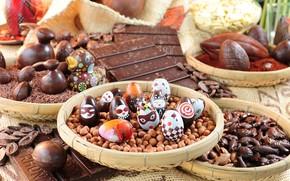 Картинка шоколад, яйца, конфеты, Пасха, орехи, chocolate, easter, sweets