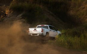 Картинка белый, пыль, пикап, GMC, Crew Cab, Canyon, AT4, 2020, 2021, Off-Road Performance Edition