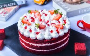 Картинка ягоды, книги, сливки, клубника, торт, украшение, слои, крем, десерт, смородина, бисквит