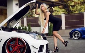 Картинка машина, авто, девушка, поза, фигура, платье, длинные волосы, Андрей Суровый, Агнета Королевская