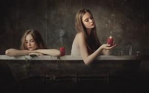 Картинка девушка, свечи, ванна, Marco Redaelli