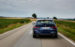 Картинка BMW, вид сзади, 3-series, универсал, тёмно-синий, 3er, 2020, G21, 330d xDrive Touring