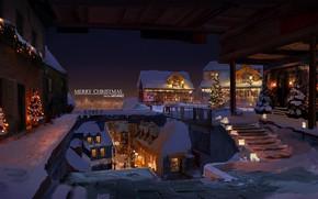 Картинка зима, город, елки, Рождество