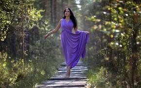 Картинка лето, взгляд, девушка, солнце, природа, платье, брюнетка, Рехов Сергей