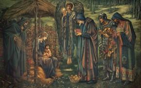 Картинка крыша, люди, женщина, ангел, картина, корона, Рождество, солома, музей, живопись, искусство, мужчины, младенец, волхвы, иллюстрация, …
