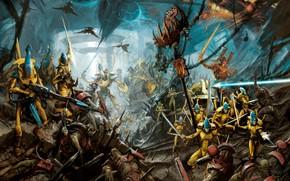 Картинка eldar, orcs, warrior, Warhammer 40 000, warlock, Avatar of Khaine, craftworld, Iyanden, WAAAGH!!!, ghost kinght, …
