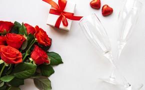 Картинка подарок, розы, бокалы, сердечки, День влюбленных, Olena Rudo