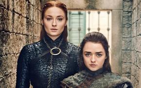 Картинка Игра престолов, Ария, Stark, Game Of Thrones, Старки, Arya, Sansa, Санса, Season 8