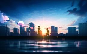 Картинка солнце, закат, город, школьники