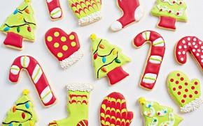 Картинка зима, праздник, игрушки, печенье, Рождество, белый фон, Новый год, носки, ёлочка, светлый фон, фигурки, много, …
