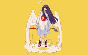 Картинка крылья, ангел, аниме, арт, девочка, жёлтый фон