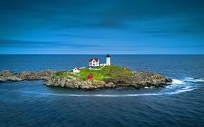 Картинка маяк, остров, США, Мэн, Набл Лайтхаус