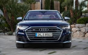 Картинка синий, Audi, седан, вид спереди, Audi A8, Audi S8, 2020, 2019, V8 Biturbo