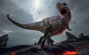 Картинка графика, динозавр, оскал, тираннозавр
