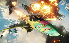 Картинка взрыв, истребитель, Microsoft, game, Just Cause 4