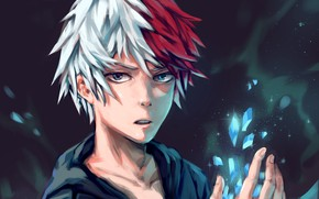 Картинка лёд, парень, My Hero Academia, Boku No Hero Academia, Тодороки Шото, Моя Геройская Академия