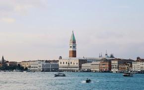 Картинка Италия, панорама, Венеция, Гранд-канал, Дворец Дожей, компанилла