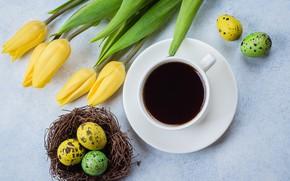 Картинка цветы, Пасха, тюльпаны, happy, yellow, flowers, tulips, coffee cup, Easter, eggs, чашка кофе, крашеные яйца