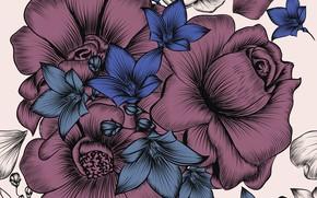 Картинка белый, цветы, фон, wallpaper, винтаж, pattern, floral