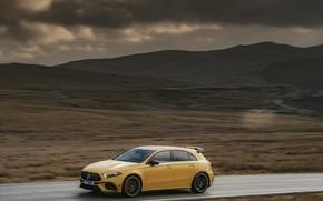 Картинка Mercedes-Benz, скорость, хэтчбек, UK-spec, 2020, 4MATIC+, A45 S, Aerodynamic Package, ANG
