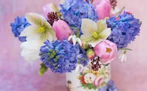 Картинка фон, букет, подснежники, тюльпаны, гиацинты, морозник