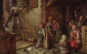 Картинка German painter, немецкий живописец, Hermann von Kaulbach, Герман фон Каульбах, Мальчик на ходулях, The Stilt …