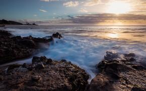 Картинка море, солнце, облака, камни, побережье, марина