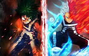 Картинка Моя геройская академия, My Hero Academia, Boku No Hero Academia, Мидория Изуку, Тодороки Шото