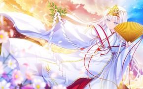 Картинка небо, девушка, цветы, игра, танец, вечер, утро, веер, кимоно, Anime, ветка дерева