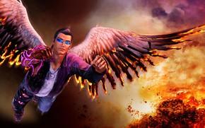 Картинка огонь, пламя, крылья, wings, Святые, Джонни, Saints Row, Гэт, Gat Out of Hell, Gat