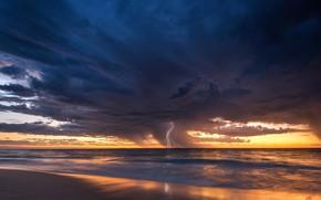 Картинка море, гроза, молния, Австралия, Перт