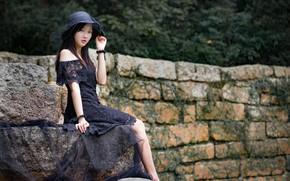 Картинка девушка, платье, шляпка, азиатка, милашка