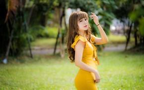 Картинка девушка, поза, платье, азиатка, милашка, боке