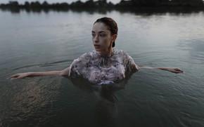 Картинка девушка, мокрая, платье, веснушки, в воде, Aleks Five, Елизавета Трофимова