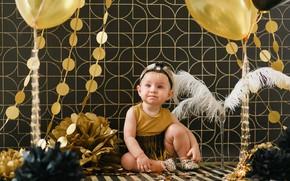 Картинка фон, шары, платье, девочка, бант, Baby, малышка, Child, Birthday, Kids, Balloon