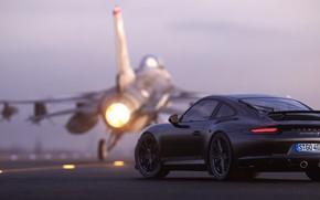 Картинка рендеринг, 911, Porsche, вид сзади, F-16, 2018, CGI, Carrera T, Gustavo Coutinho Alves