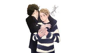 Картинка романтика, арт, объятия, сериал, Шерлок Холмс, John Watson, Sherlock BBC, Dr. John Watson, Джон Ватсон