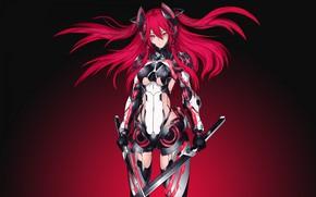 Картинка girl, fantasy, armor, red hair, weapon, Warrior, red eyes, digital art, artwork, swords, fantasy art, …