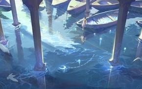 Картинка вода, девушка, звезды, лодки, пОлумесяц